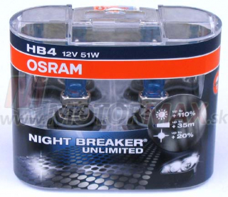 Žiarovky HB4 OSRAM NIGHT BREAKER Unlimited 51W 12V +110% (2 ks)